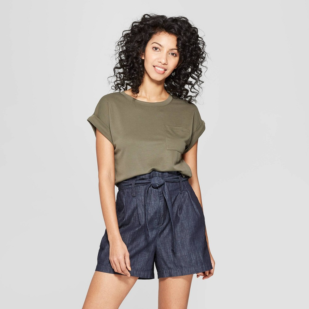Women's Easy Fit Short Sleeve Crew Neck T-Shirt - A New Day Olive (Green) M