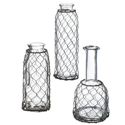 "Sullivans Set of 3 Mesh Glass Bottle Vases 8""H, 7""H & 6.5""H Clear"