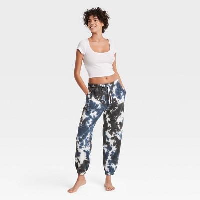 Women's Tie-Dye Fold-Over Fleece Lounge Jogger Pants - Colsie™ Blue