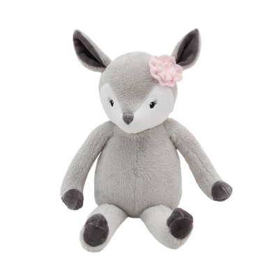 NoJo Little Love Lucy The Gray and White Plush Deer with Pink Rose