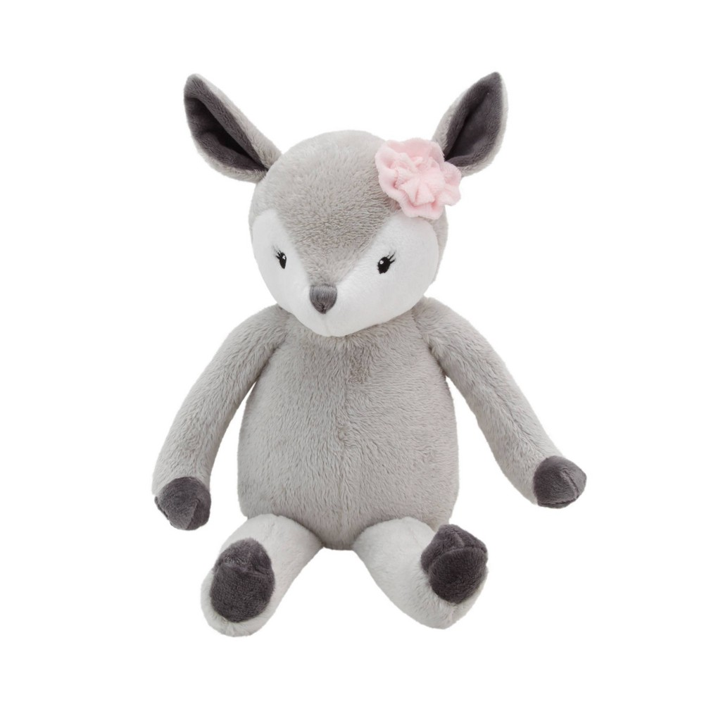 Image of NoJo Little Love Lucy The Gray and White Plush Deer with Pink Rose