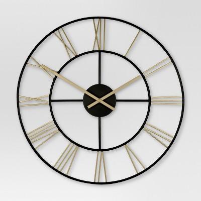 Decorative Wall Clock - Gold/Black - Threshold™
