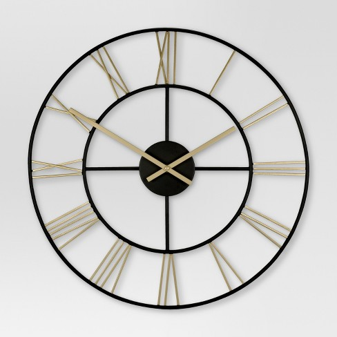 Decorative Wall Clock Gold Black Threshold Target
