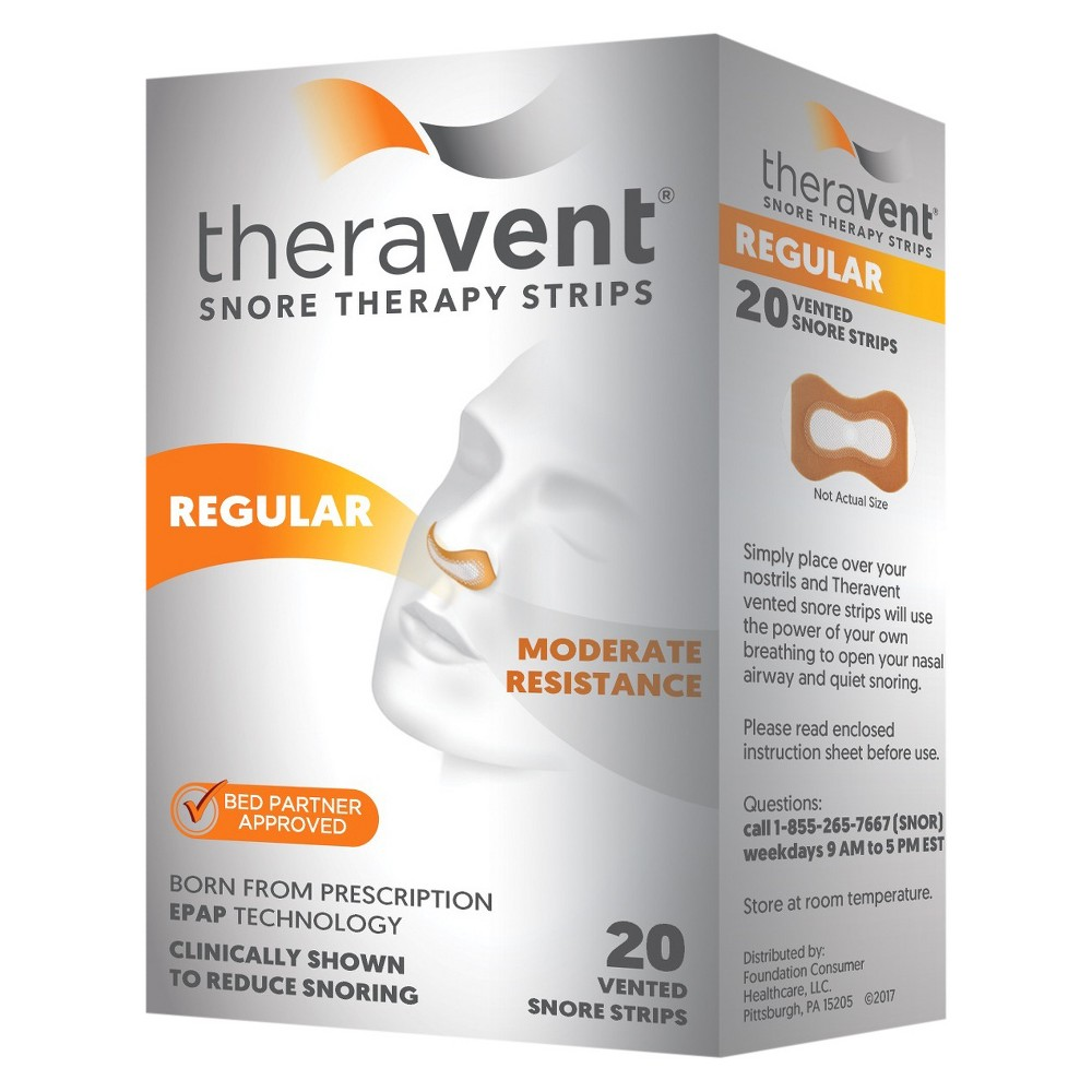 Theravent Snore Therapy Strips - Regular - 20ct Welcome to a Quiet Nights's SleepTheravent Advanced Nightly Snore Therapy is clinically proven to significantly reduce snoring, which can mean better sleep for both you and your partner. Theravent's patented MicroValve Technology uses the power of your own breathing to target and treat snoring. You and your partner should hear results right away. Age Group: Adult.