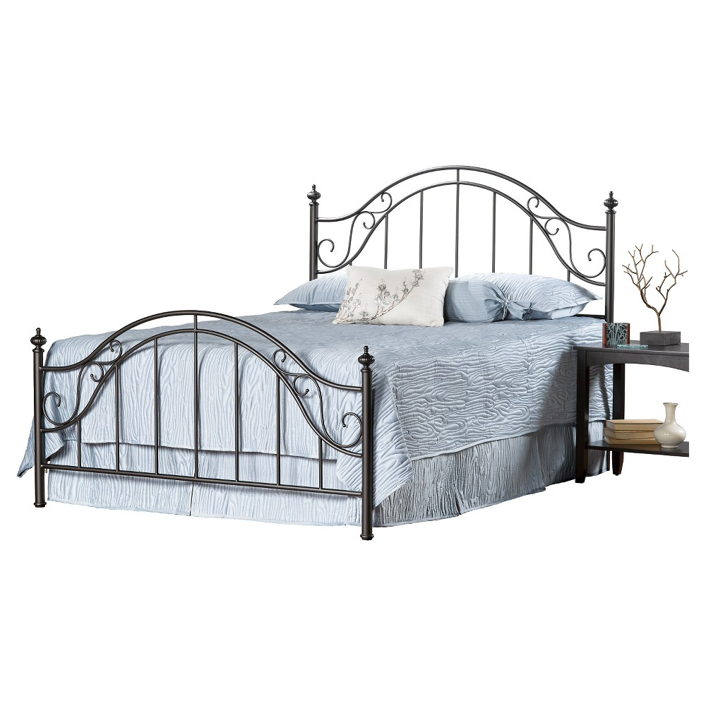 Clayton Bed with Rails - Matte Brown (Queen) - Hillsdale Furniture, Black
