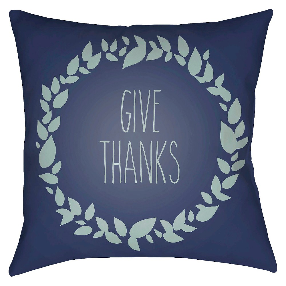Navy Give Thanks Throw Pillow 20