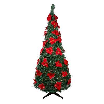Northlight 6' Pre-Lit Green Poinsettia Pop-Up Artificial Christmas Tree - Clear LightsSlim