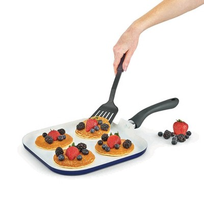 Kitchensmith By Bella Ceramic Griddle 10.5  Indigo Blue With Gray Bakelite Handle