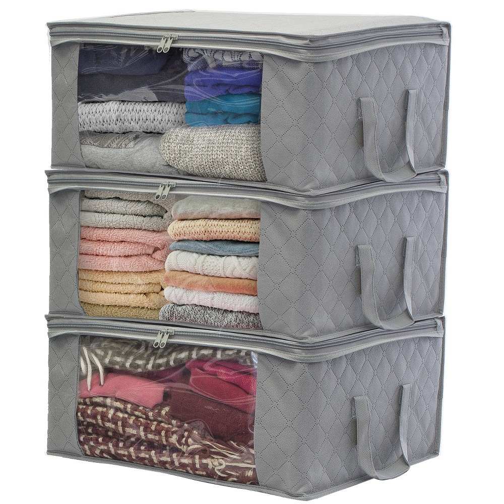 Sorbus Storage Bamboo Charcoal Fiber Clothing Organizer Bags 3pc Set, Gray Pack, zip, and transport household essentials with a clear view! The Sorbus Storage Organizer Bags store and protect your seasonal items and apparel. It features two carry handles and a large transparent front window to see contents at a glance. The generous size compartment provides plenty of room for clothing storage, blankets, linens, holiday decorations, toys, photos, baby clothes, or to use as saree bags. A fully zippered closure protects from dust, pest, and water damage while securing Dont let limited closet space cramp your style! Store out-of-season or infrequently used items with ease. Make the most of your wardrobe with folded garments that neatly fit into soft storage bags. Whether youre storing sweaters, guestroom linens, or your favorite designer bags, these organizers are perfect for the closet, bedroom, laundry room, or attic. Once filled, they easily fit on shelves, stack on top of each other, or slide under the bed to maximize space. For an added scent, place some fragrant sachets inside before zipping them close! Traveling or moving? Easy-carry handles make these bags portable and convenient for transporting to new locations. Easily view contents through transparent side windows while packing the car for a long trip or unloading the U-Haul for a seamless move. Breathable fabric protects against dust and pests while allowing airflow to keep items fresh. Durable and compact for space-saving storage. Made of Polypropylene Nonwoven. Includes one large section with large transparent window, zipper closure, and 2 handles. Measures approximately 19 L X 14 W X 8 H. Ditch clutter, not your shopping obsession! Add multiple organizer bags for additional wardrobe storage. Color: Gray. Age Group: Adult.