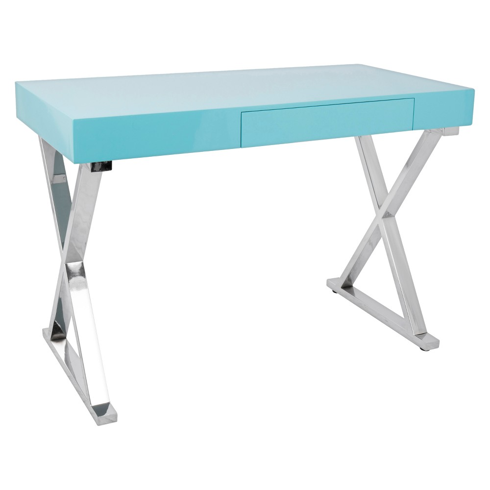 Luster Contemporary Office Desk - Light Blue - Lumisource