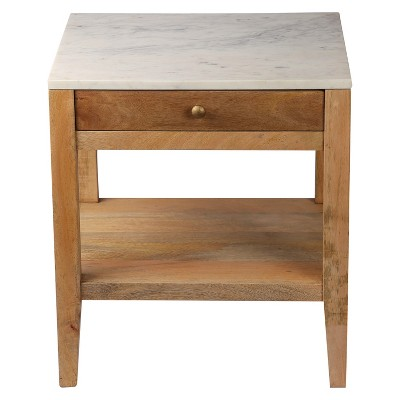 Marble and Wood One Drawer Accent Table - Threshold™