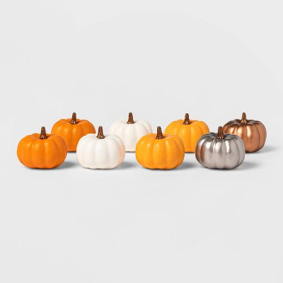 8ct Harvest Solid Color Mini Decorative Pumpkin - Spritz™