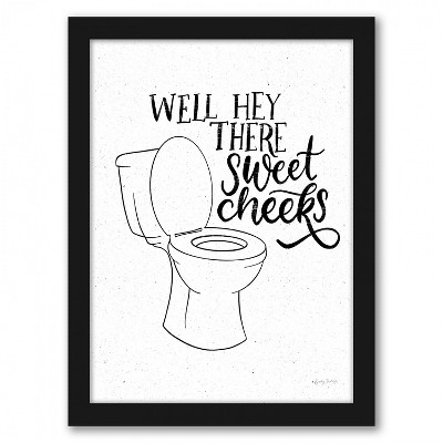 Americanflat Bathroom Puns Iii by Becky Thorns Black Framed Print