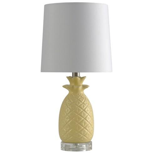 Ceramic Yellow Pinele Table Lamp With White Hardback Fabric Shade Stylecraft