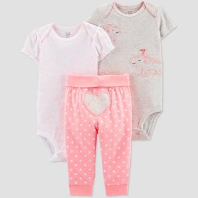 Baby Girls' 3pc Dino Top And Bottom Set - Just One You® made by carter's White/Pink/Gray 3M