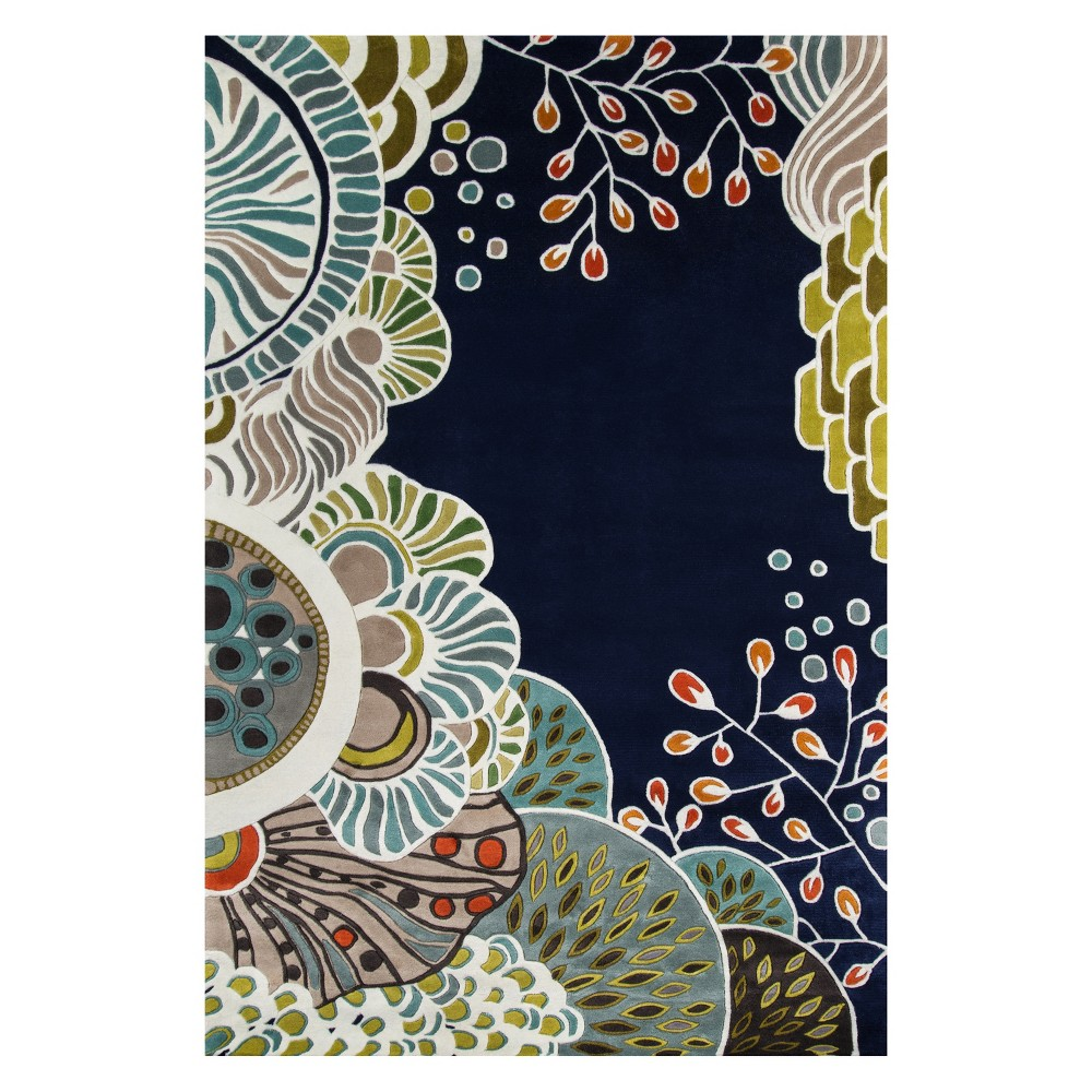 8'X11' Floral Tufted Area Rug Navy (Blue) - Momeni