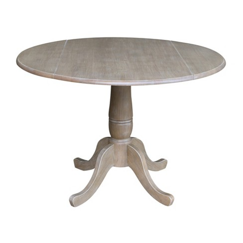 Nathaniel Round Dual Drop Leaf Pedestal Table Gray Taupe