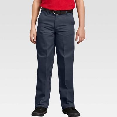 Dickies Boys' Classic Fit Straight Leg Flat Front Uniform Chino Pants