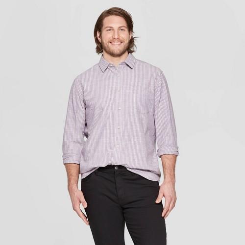 Men's Big & Tall Striped Long Sleeve Cotton Slub Button-Down Shirt - Goodfellow & Co Violet 5XB, Purple