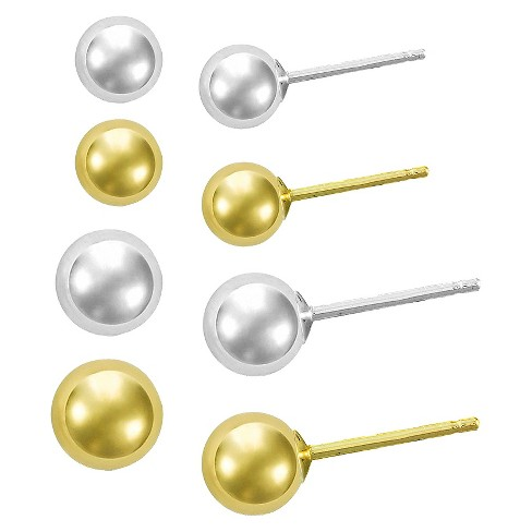 Girls' Sterling Silver Set of 4 Silver Ball Stud (4x5mm) - image 1 of 1