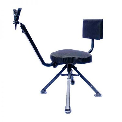 BenchMaster Four Leg Portable Foldable Lightweight Hunting & Shooting Ground Blind Chair w/ Adjustable Legs & 360 Degree Rotation, & Gun Grip, Black