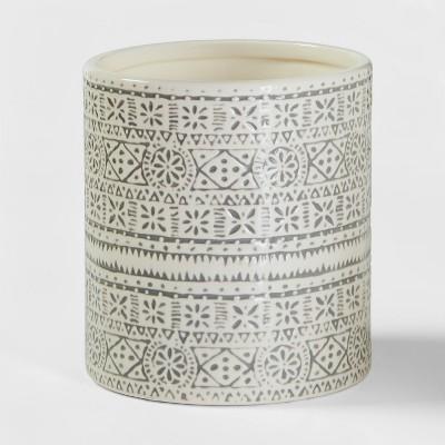 Stoneware Genesis Stripe Utensil Holder White/Gray - Threshold™