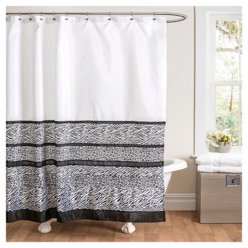 Tribal Dance Shower Curtain Black White