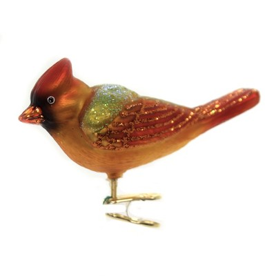 """Old World Christmas 3.0"""" Winter Cardinal Female Red Bird Ornament Clip-On  -  Tree Ornaments"""