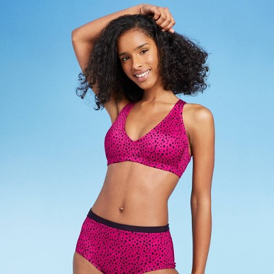 Women's V-Neck Tie Back Bralette Bikini Top - All in Motion™ Cranberry Dot