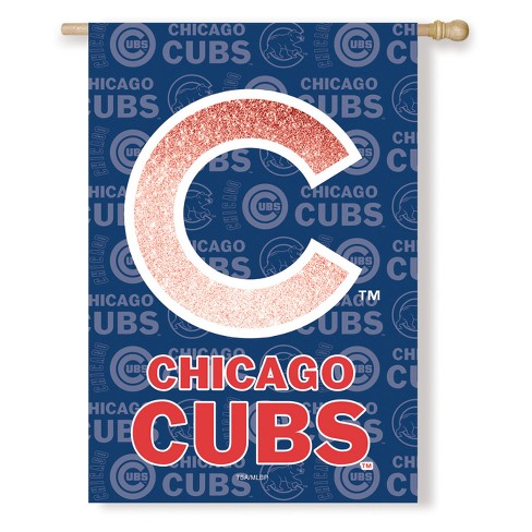 Chicago Cubs Two-Sided Glitter Accented House Flag - image 1 of 1