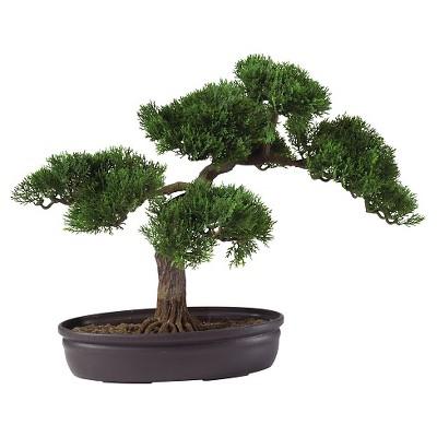 Nearly Natural 16  Cedar Bonsai Silk Plant