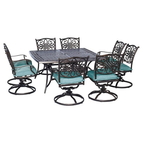 Seasons 9pc Square Metal Patio Dining Set With Eight Swivel Chairs