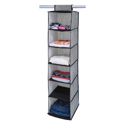 Simplify 6 Shelf Closet Organizer Black