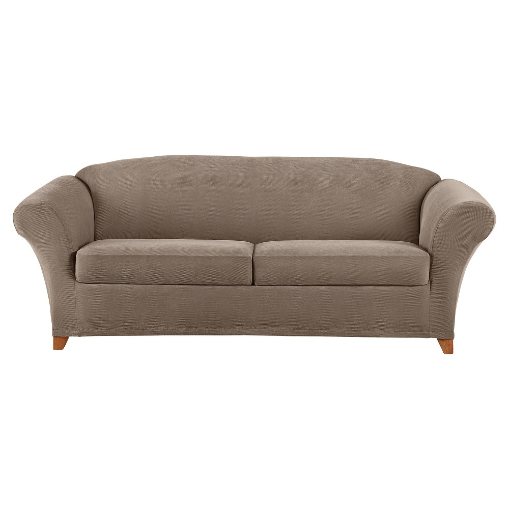 Image of 3pc Stretch Pique Sofa Slipcover Taupe - Sure Fit