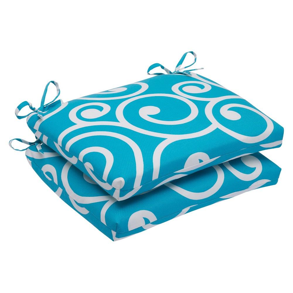 Pillow Perfect Best 2-Piece Squared Edge Seat Cushion Set - Blue, Blue White