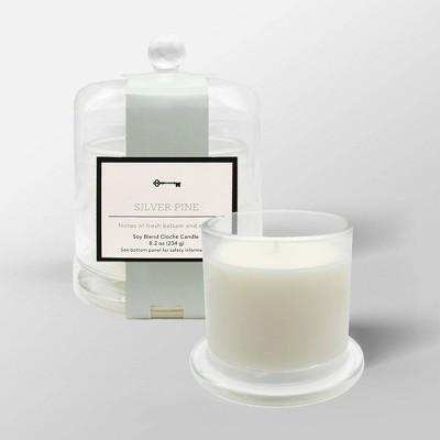 8.2oz Cloche Glass Jar Candle Silver Pine - Threshold™