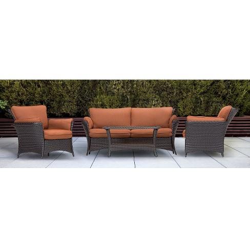Strathmere 4 Piece Wicker Patio Conversation Furniture Set