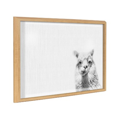 "18"" x 24"" Blake Alpaca by Simon Te of Tai Prints Framed Printed Glass Dry Erase Board Natural - Kate & Laurel All Things Decor"