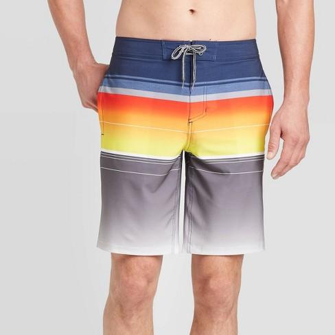 "Men's 10"" Striped Reversed Board Shorts - Goodfellow & Co™ Hyper Orange - image 1 of 3"