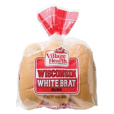 Village Heart Wisconsin White Brat Buns - 15oz/6ct