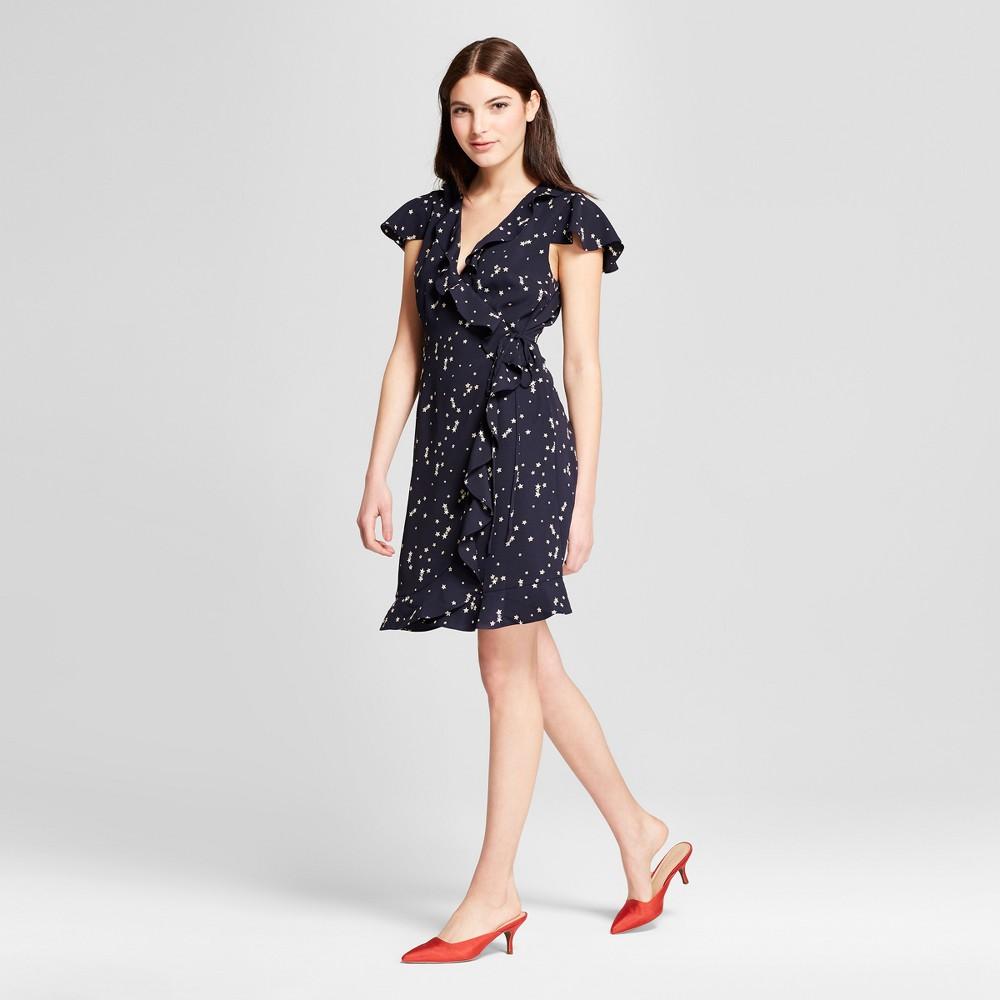 Women's Printed Short Sleeve Ruffle Wrap Mini Dress - Éclair Navy/White XS, Black