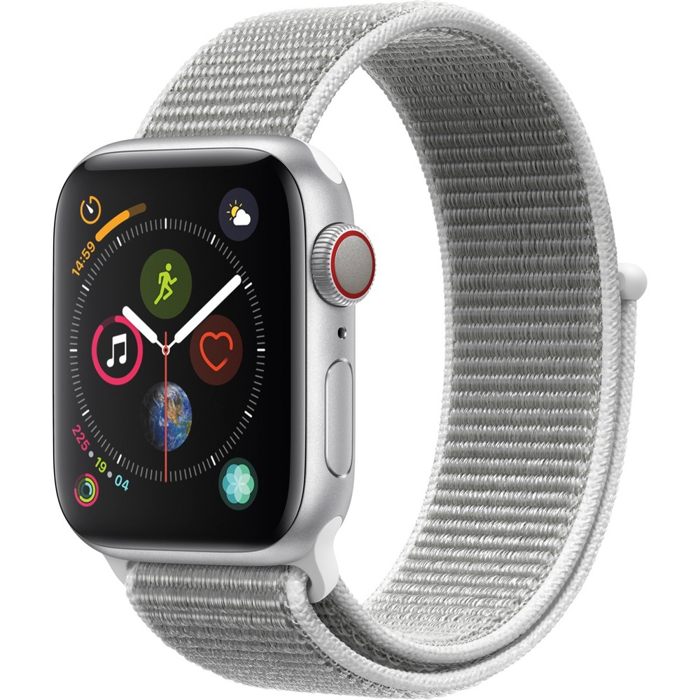 Apple Watch Series 4 Gps & Cellular 40mm Silver Aluminum Case with Sport Loop - Seashell, Seashell Sport Loop Fundamentally redesigned and reengineered. The largest Apple Watch display yet. Built-in electrical heart sensor. New Digital Crown with haptic feedback. Low and high heart rate notifications. Fall detection and Emergency Sos. New Breathe watch faces. Automatic workout detection. New yoga and hiking workouts. Advanced features for runners like cadence and pace alerts. New head-to-head competitions. Activity sharing with friends. Personalized coaching. Monthly challenges and achievement awards. Built-in cellular lets you use Walkie-Talkie, make phone calls, and send messages. Stream Apple Music and Apple Podcasts. And use Siri in all-new ways—even while you're away from your phone. With Apple Watch Series 4, you can do it all with just your watch. Selection may vary; see a sales associate for available models. Apple Watch Series 4 (Gps + Cellular) requires an iPhone 6 or later with iOS 12 or later. Wireless service plan required for cellular service. Apple Watch and iPhone service provider must be the same. Not all service providers support enterprise accounts; check with your employer and service provider. Roaming is not available outside your carrier network coverage area. Contact your service provider for more details. Apple Music requires a subscription. Compared with the previous generation. Iso standard 22810:2010. Appropriate for shallow-water activities like swimming. Submersion below shallow depth and high-velocity water activities not recommended. Color: Seashell Sport Loop.
