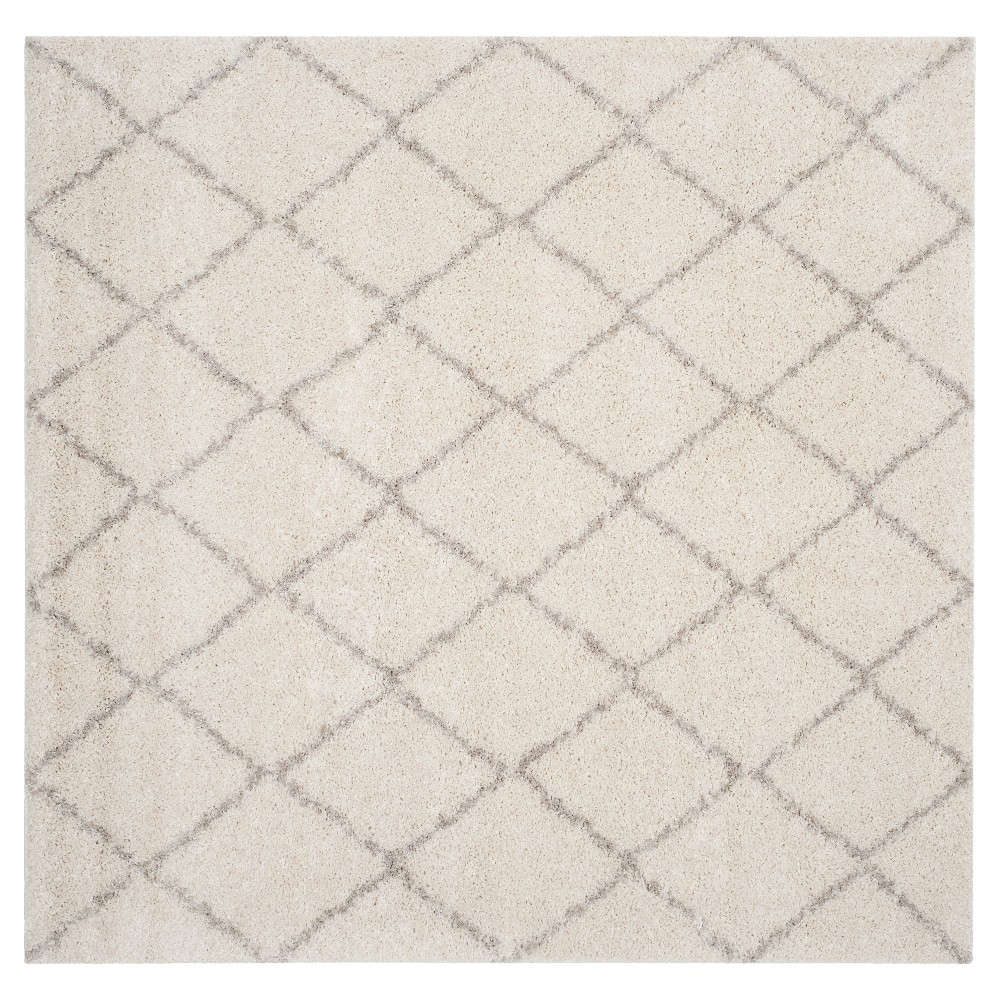 Ivory/Beige Abstract Loomed Square Area Rug - (6'7