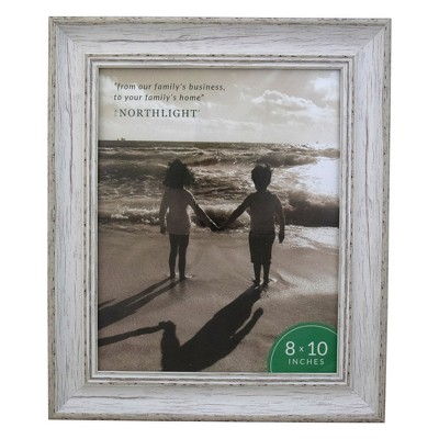 """Northlight 8"""" x 10"""" Weathered Finish Photo Picture Frame - White"""