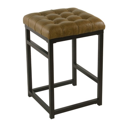 24 Hayden Open Back Metal Counter Stool Light Brown Faux Leather