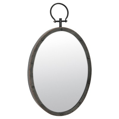 "24.8"" x 14.2"" Oval Metal Wall Mirror with Rivet Trim Dark Gray - Stonebriar Collection"