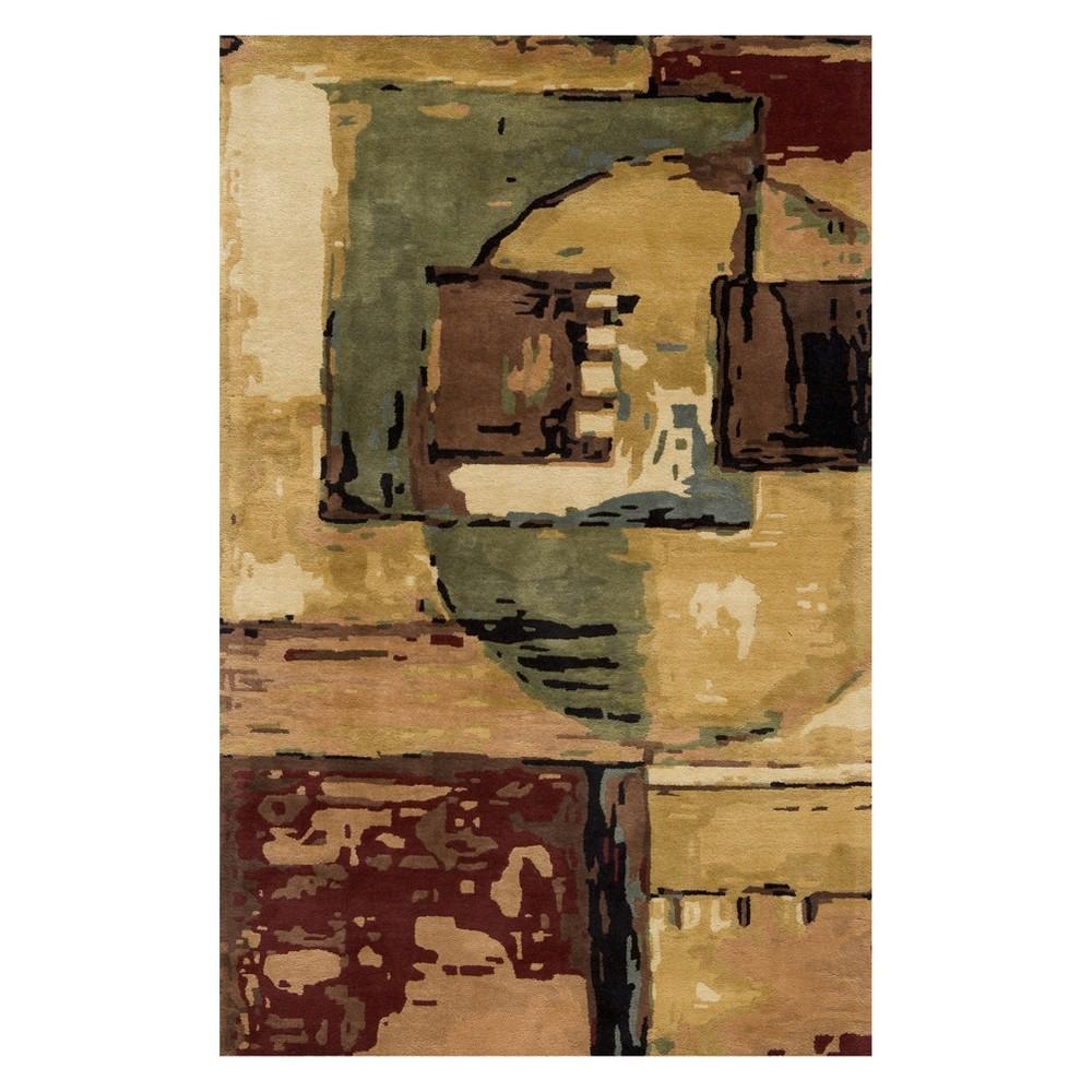 8'X11' Color Block Tufted Area Rug Sand (Brown) - Momeni
