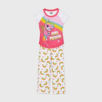 Girls' Rainbow Butterfly Unicorn Kitty 2pc Pajama Set - White 4