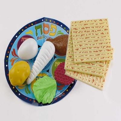 """Rite Lite 10pc Passover Children Play Seder Set 4.25"""" - Blue/Beige"""