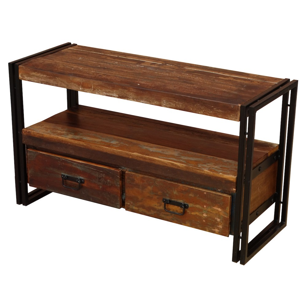 "Old Reclaimed Wood 55"" TV Cabinet with Double Drawers - Timbergirl"